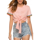 Summer Hot Fashion Pink Short Sleeve Rainbow Contrast Trim Bow Knotted Front Unique T-Shirts