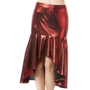 Trendy Womens High Waist Burgundy Asymmetric Ruffle Hem Sexy Midi Skirt for Nightclub