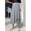 Summer Hot Fashion Elastic Waist Plain Split Side Asymmetric Hem Casual Loose Midi Holiday Skirt