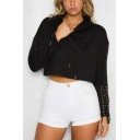 Womens Simple Plain Stylish Lace-Up Long Sleeve Crop Hoodie