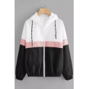 Womens Trendy Color Block Long Sleeve Zip Up Drawstring Hooded Coat Jacket
