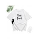 Cartoon Cat Letter MAMA NEEDS WINE Print White Loose Graphic Tee