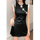 Summer New Arrival Hot Fashion Black Vintage Chic Sleeveless Frog Button Lace Trim Mini Dress