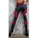 Womens New Trendy Colorblock Letter Skinny Fitted Sport Legging Pants