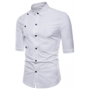 Mens Hot Popular Unique Double-Breasted Front Half-Sleeve Plain Slim Shirt