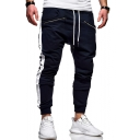 Men's New Stylish Colorblock Patched Side Zipped Pocket Drawstring Waist Casual Sports Sweatpants