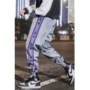 Street Style Fashion Colorblock Letter Printed Drawstring Waist Guys Trendy Casual Loose Track Pants