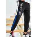Guys Trendy Colorblock Patched Side Letter NEW YORK Printed Casual Sweatpants