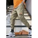 New Fashion Simple Plain Drawstring Waist Elastic Cuffs Men's Casual Retro Multi-pocket Cargo Pants