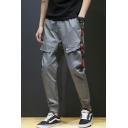 Men's Popular Fashion Letter Ribbon Embellished Grey Casual Cargo Pants