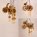 Wood Motor Pendant Light with Manila Rope Rustic Stylish Chandelier in Beige for Restaurant