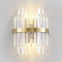 Modern Stylish Drum Wall Light Clear Crystal LED Wall Sconce in Gold for Hallway Stair Kitchen
