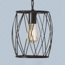 Industrial Black Hanging Light Barrel Wire Frame 1 Light Metal Pendant Light for Dining Table