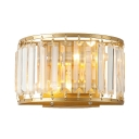 Living Room Drum Sconce Light Metal Modern Stylish Gold Wall Lamp with Crystal Decoration