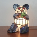 Panda Child Bedroom Table Light Stained Glass One Light Lovely Tiffany Night Light in Black&White
