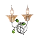 2 Lights Candle Sconce Lamp Traditional Metal Sconce Light in Chrome with Crystal for Hotel Corridor