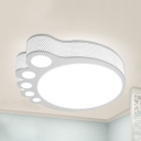 Cute Kid Foot Flush Mount Light Acrylic Third Gear/White LED Ceiling Lamp for Child Bedroom