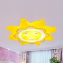 Cartoon Smiling Sun Ceiling Mount Light Metal LED Ceiling Lamp in Yellow for Kindergarten