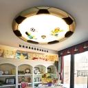 Metal Soccer LED Flush Mount Light Kid Bedroom Sport White Lighting Ceiling Lamp in Black/Yellow