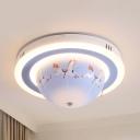 Rotatable Animal Horse Flush Mount Light Acrylic Blue Stepless Dimming LED Ceiling Light