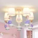 Pretty Mermaid Suspension Light 5/6 Heads Pink/Purple Chandelier for Girls Bedroom Foyer