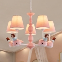 Resin Girl&Dolphin Chandelier Child Bedroom 3/5 Heads Lovely Hanging Lamp in Blue/Pink