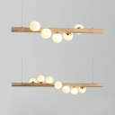 Nordic Linear Island Pendant with Globe Shade 5/7 Lights Wood Glass Island Light in Beige for Kitchen