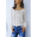 Fashion Tied Boat Neck Lace-Trim Hollow Out Long Sleeve White Blouse Top