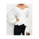 Designer Unique Surplice V-Neck Tied Waist Lantern Long Sleeve Blouse Top for Women