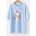 Unique Funny Cartoon Rabbit Patched Short Sleeve Casual T-Shirt