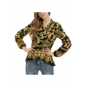 Womens Yellow Floral Printed Tied Collar Long Sleeve Casual Loose Blouse Top