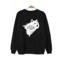 Popular WINTER Wolf Head Pattern Crewneck Long Sleeve Black Sweatshirt