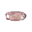 Cute Cartoon Elephant Rainbow Printed Striped Strap PU Leather Chest Bag Belt Bag 27*14*5 CM