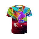 Creative Colorful Dream Painting Violin Astronaut Printed Short Sleeve Round Neck T-Shirt