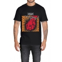 Guys Popular Letter METALLICA Hand Printed Round Neck Short Sleeve Casual Tee