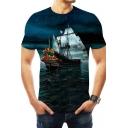 Blue Starry Night Sailing Boat 3D Printed Round Neck Short Sleeve Basic T-Shirt
