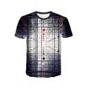 Unique 3D Pattern Basic Round Neck Short Sleeve Regular Fit T-Shirt