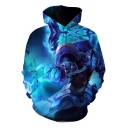 Cool Blue 3D Game Figure Pattern Basic Long Sleeve Casual Sport Pullover Hoodie