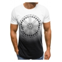 Mens Hot Popular Ombre Color Circle Letter Print Short Sleeve Casual Tee
