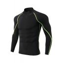 Guys Fashion Contrast Piping High Neck Long Sleeve Quick Drying Fitness Slim T-Shirt