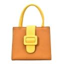Designer Fashion Color Block Belt Buckle PU Leather Satchel Handbag 21*17*12 CM
