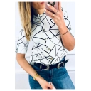 Simple Line Printed Stand Collar Button Down White Fitted Shirt Blouse