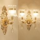 1/2 Lights Curved Shade Wall Light with Clear Crystal Elegant Metal Sconce Light in Gold for Bedroom