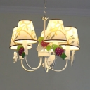 Metal Bird Chandelier with Tree 5 Lights Modern Lovely Pendant Light in White for Baby Room