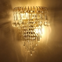 European Style Gold Wall Light Candle Metal Sconce Lamp with Glamorous Crystal for Adult Bedroom