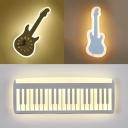 Lovely White LED Sconce Light Guitar/Piano Acrylic Sconce Light for Living Room Dining Room
