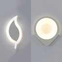 Leaf/Sun Kids Bedroom LED Sconce Light Acrylic Cute White Finish Wall Lamp in Warm/White