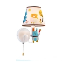 Kindergarten Bunny Wall Light with Pull Chain Metal 1 Light Cartoon Colorful Sconce Light