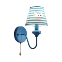 Nautical Style Ship Wall Lamp with Stripe Shade & Pull Chain Fabric Metal 1 Head Blue Wall Light for Child Bedroom