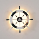 Boys Bedroom Rudder Wall Light Resin Nautical Stylish Black&White/Blue&Yellow Wall Lamp